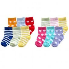 Luvable Friends 6pk Fun Stripe Combo Socks